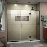 "DreamLine Unidoor-X 72-72.5"" W x 72"" H Frameless Shower Door in Satin Black, Right Wall Inst."