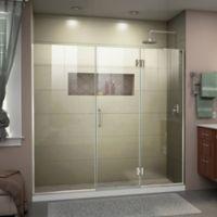 """DreamLine Unidoor-X 72-72.5"""" W x 72"""" H Frameless Shower Door in Brushed Nickel, Right Wall Inst."""