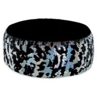 Soft Landing™ Sequin Pouf in Black/Silver Laser