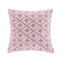 N Natori® Cherry Blossom Embroidered Square Throw Pillow in Red