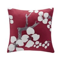 N Natori® Cherry Blossom Square Throw Pillow in Red
