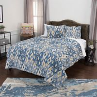 Rizzy Home Asher Geometric Twin XL Quilt Set in Blue