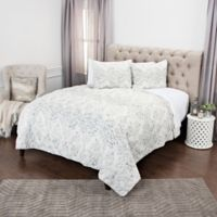 Rizzy Home Astrid Geometric Twin XL Quilt Set in Grey