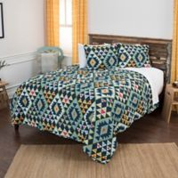 Rizzy Home Miles Geometric King Quilt Set in Blue
