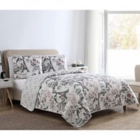 VCNY Home Paris Birds Reversible King Quilt Set in Clay