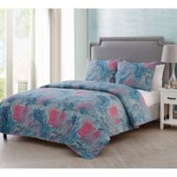 VCNY Home Ava Paisley Full/Queen Quilt Set in Pink/Blue