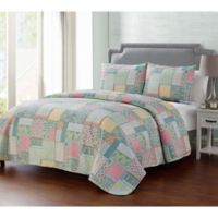 VCNY Home Ibiza Reversible Full/Queen Quilt Set in Blue/Green