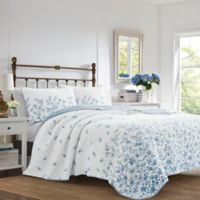 Laura Ashley® Flora Reversible King Quilt Set in Blue