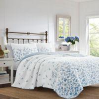 Laura Ashley® Flora Reversible Full/Queen Quilt Set in Blue