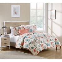 VCNY Home Sea Star Reversible King Quilt Set in Coral/White
