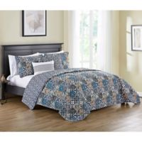 VCNY Home Azau Reversible King Quilt Set in Blue
