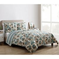 VCNY Home Shell Treasure Reversible King Quilt Set in Blue