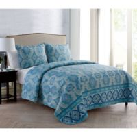 VCNY Home Ora Full/Queen Quilt Set in Blue