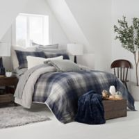 UGG® Redding Plaid Reversible Twin Duvet Cover Set in Navy/Grey