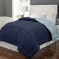 Microfiber Down Alternative Reversible Twin Comforter in Navy/Light Blue