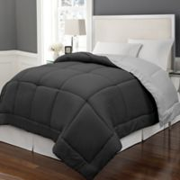 Microfiber Down Alternative Reversible Full/Queen Comforter in Black/Platinum