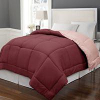 Microfiber Down Alternative Reversible Full/Queen Comforter in Burgundy/Mauve