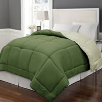 Microfiber Down Alternative Reversible Full/Queen Comforter in Olive/Sage