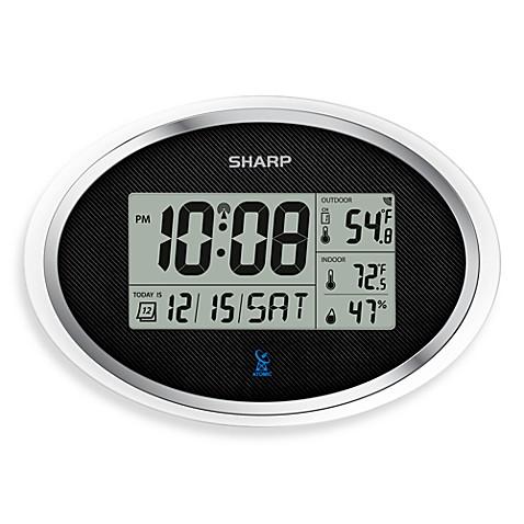 Sharp Atomic Lcd Digital Oval Wall Clock Bed Bath Amp Beyond