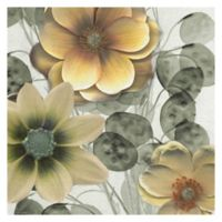 Asian Gold Floral 20-Inch Wrapped Canvas Wall Art
