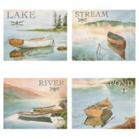 The Lake, Pond, River, & Stream 11-Inch x 14-Inch Canvas Wall Art (Set of 4)
