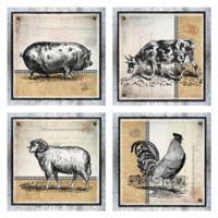 Burlap Farm 16-Inch Wrapped Canvas Wall Art (Set of 4)