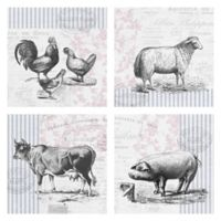 Barnyard Animals 12-Inch Wrapped Canvas Wall Art (Set of 4)