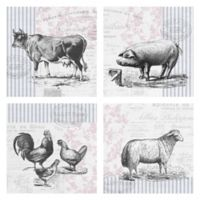 Barnyard Animals 16-Inch Wrapped Canvas Wall Art (Set of 4)