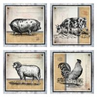 Burlap Farm 12-Inch Wrapped Canvas Wall Art (Set of 4)