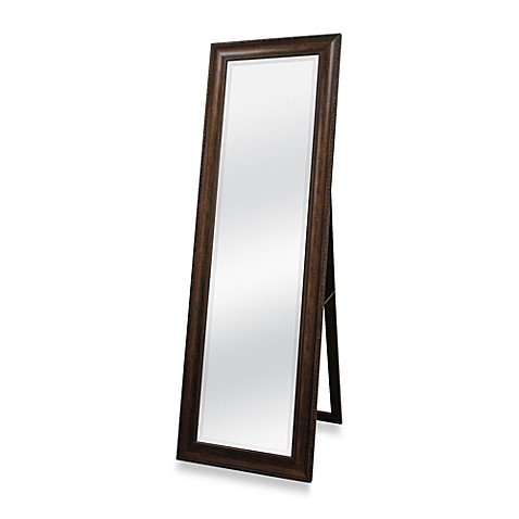 Golden bronze 20 inch x 60 inch floor mirror with easel for Bathroom floor mirror