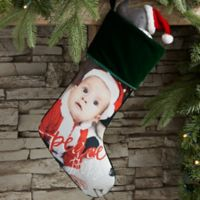 Holiday Photo Memories Personalized Christmas Stocking in Green