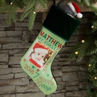 Baby's First Christmas Personalized Photo Stocking in Green