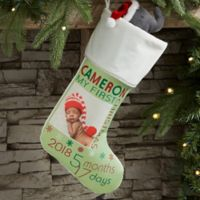 Baby's First Christmas Personalized Photo Stocking in Ivory