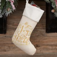 Holiday Carols Personalized Christmas Stocking in IVory