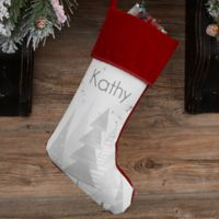 Frosty Neutrals Personalized Christmas Stocking in Burgundy