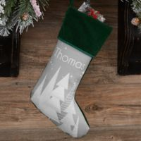 Frosty Neutrals Personalized Christmas Stocking in Green