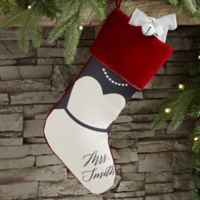 Bride & Groom Personalized Christmas Stocking in Burgundy