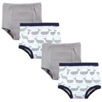 Hudson Baby® 4-Pack Whales Size 12-18M Training Pants in Grey