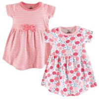 Touched by Nature Size 3-6M 2-Pack Rosebud Short Sleeve Organic Cotton Dresses in Pink