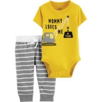 carter's® Size 3M 2-Piece Construction Bodysuit and Pant Set in Yellow/Grey