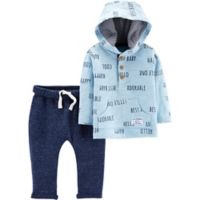 carter's® Newborn 2-Piece Slub Jersey Hoodie and Pant Set in Blue