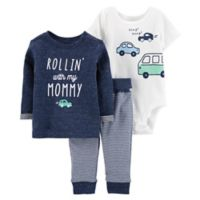carter's® Size 3M 3-Piece Car Pullover, Bodysuit, and Pant Set in Navy/White