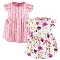 Touched by Nature Size 2T 2-Pack Botanical Short Sleeve Organic Cotton Dresses in Pink