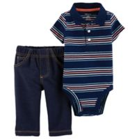 carter's® Size 24M 2-Piece Polo-Style Bodysuit and Pant Set in Navy