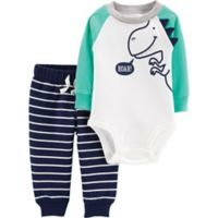 carter's® Size 12M 2-Piece Dinosaur Bodysuit and Pant Set in Green/White/Blue