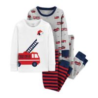 carter's® Size 12M 4-Piece Fire Truck Pajamas in Grey/White