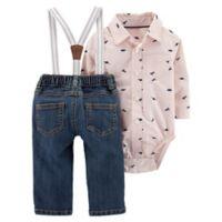 carter's® Size 12M 2-Piece Button-Front Bodysuit and Suspender Jean Set