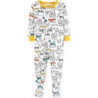 carter's® Size 24M Cars Footed Pajamas in White