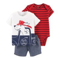 carter's® Size 3M 3-Piece Firefighter Little Short Set in Red
