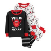 carter's® Size 18M 4-Piece Monster Pajamas in Black/Red/White